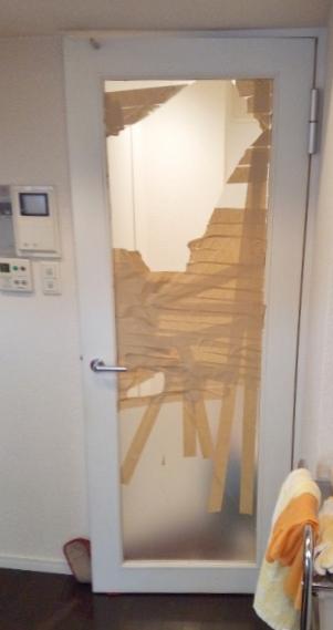 マンション室内ドア硝子われ画